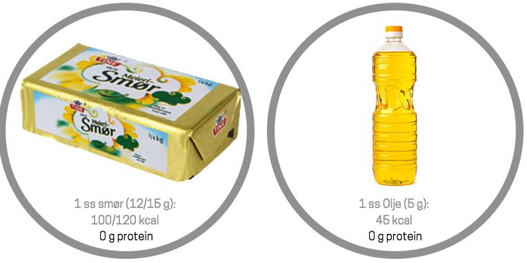 protein mengde smør olje